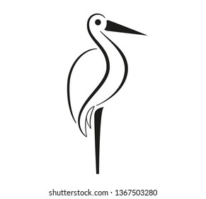 Set of birds icons in flat graphic style drawing - Stork icon - Vector