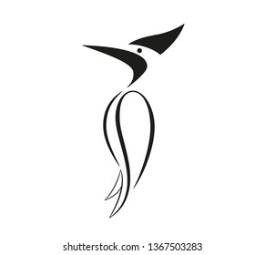 Set of birds icons in flat graphic style drawing - Woodpecker icon - Vector