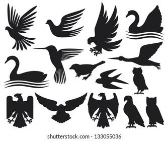 set of birds silhouettes (hummingbird, dove, sparrow, owl, swan, stork, eagle, falcon)