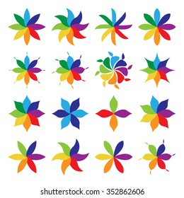 Set of birght vivid multicolor flowers. Collection of flowers with petals of many colors. EPS 8 vector illustration, no transparency