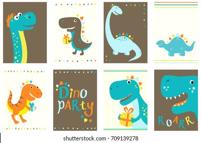 Set of birthday banner, background, flyer, placard with cute dino. Birthday posters and stickers. Vector template card for greeting, decoration, congratulation, invitation in retro color. EPS8