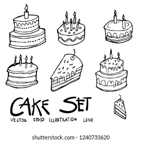 Set of Birthday cake icon Drawing illustration Hand drawn doodle Sketch line vector