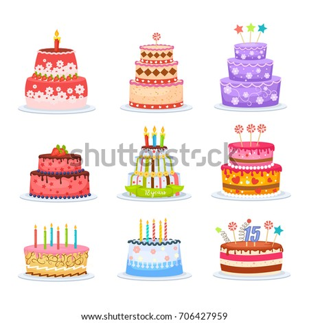 Set Of Birthday Cakes Icons Isolated On White Background Vector Illustration Chocolate Cream Fruit And Berry With Candle For Holiday Design