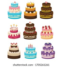 Set of Birthday Cakes.Cakes collection. cartoon Vector illustration of different types of beautiful and cute cakes, Isolated on white.