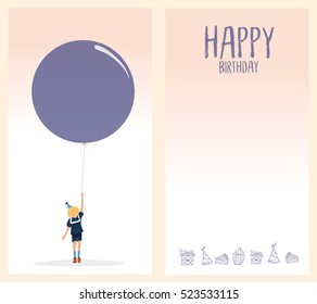 Set of birthday card with balloon, gifts,celebrities. vector