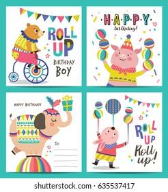 Set of birthday card with circus cartoon animals