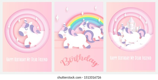 set of birthday card . cute unicorn for greeting card , poster , template card in paper cut and craft style .