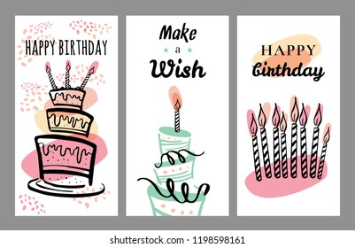 Set of birthday card design templates. Hand drawn cartoon vector sketch illustration
