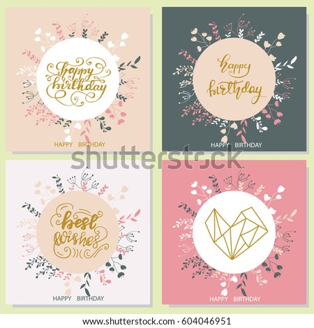 Set Of Birthday Card Designs With Floral Elements