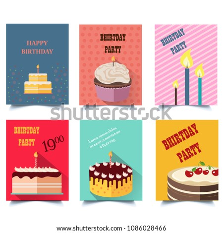 Set Of Birthday Cards With Cakes Letter Size