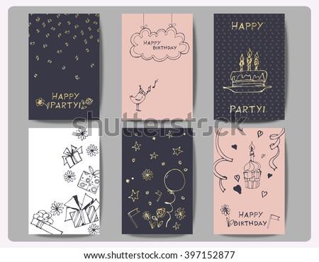 Set Birthday Cards Hand Drawn Birthday Stock Vector Royalty Free