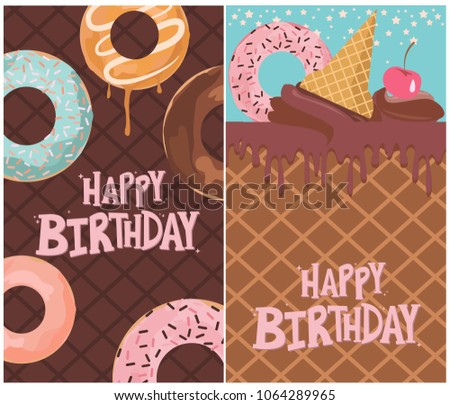 Set Of Birthday Cards With Ice Cream And Donut Editable Vector Illustration
