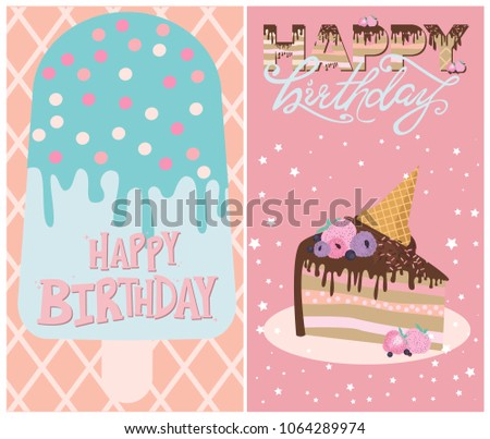 Set Of Birthday Cards With Ice Cream And Cakes Editable Vector Illustration