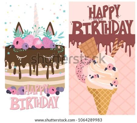 Set Birthday Cards Ice Cream Cakes Stock Vector Royalty Free