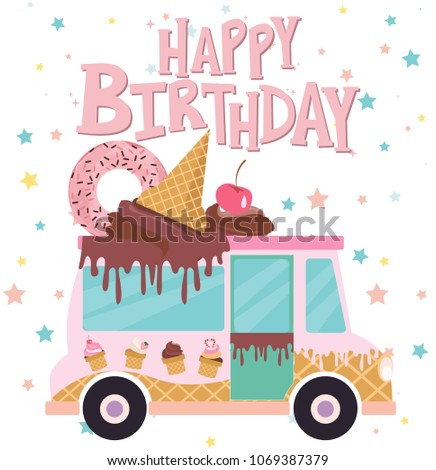 Set Of Birthday Cards With Ice Cream Car Editable Vector Illustration