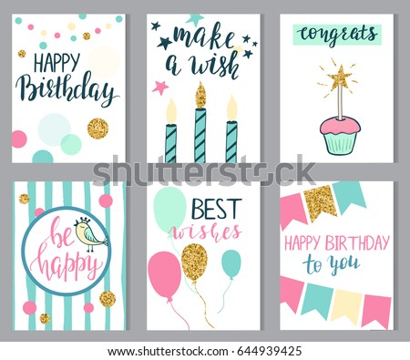 Set Of Birthday Cards With Lettering And Glitter Elements