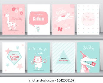 Set of birthday cards,poster,invitation cards,template,greeting cards,animals,cute,Vector illustrations