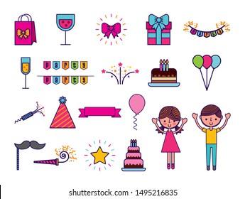 set of birthday celebration icons vector illustration design