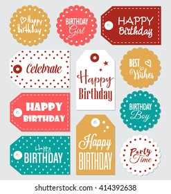 set birthday gift tags typographic vector stock vector royalty free