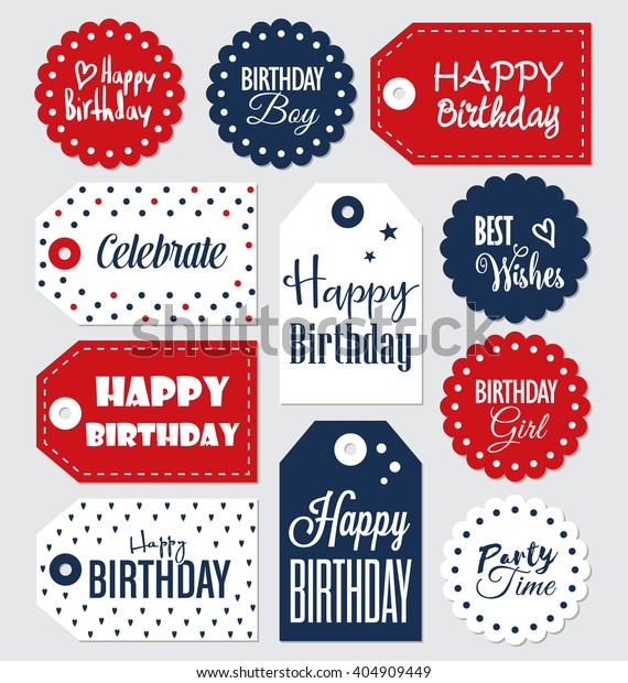 picture regarding Birthday Tag Printable named Established Birthday Present Tags Typographic Vector Inventory Vector