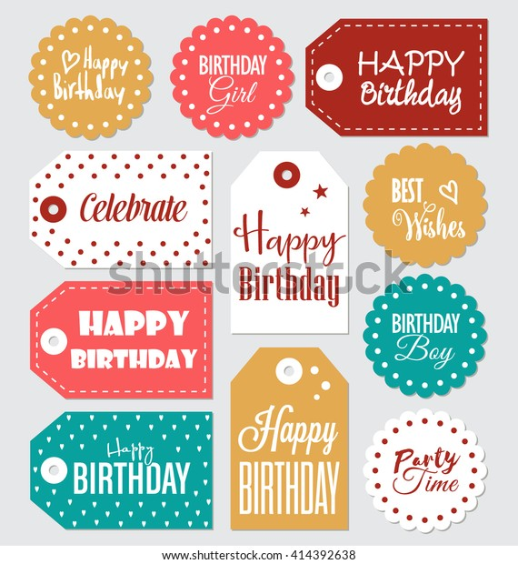 photograph regarding Printable Birthday Tags named Fastened Birthday Reward Tags Typographic Vector Inventory Vector