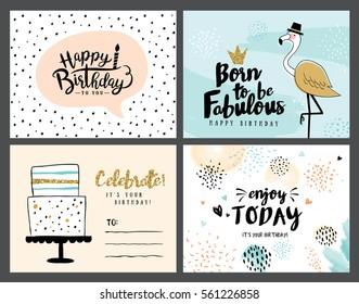 Tarjetas De Invitacion Cumpleaños Vintage Stock Vectors
