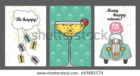 A Set Of Birthday Greeting Cards Card Templates With Glass Champagne