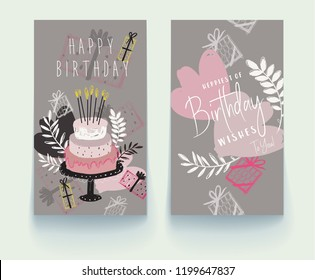 Set of birthday greeting cards design. Vector hand drawn illustration. Vector EPS 10