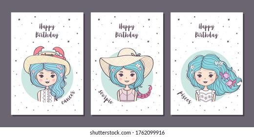 Set von Geburtstagskarten Design mit süßen Cartoon Zodiac Mädchen. Tierexperimentelle Anzeichen: Krebs, Skorpio, Piszen. Vektorgrafik