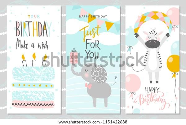 Astonishing Set Birthday Greeting Cards Party Invitation Stock Vector Royalty Funny Birthday Cards Online Fluifree Goldxyz