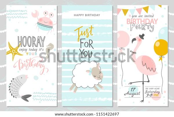 Sensational Set Birthday Greeting Cards Party Invitation Stock Vector Royalty Funny Birthday Cards Online Fluifree Goldxyz