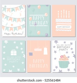 Set of birthday, greeting and invitation card. Vector illustration