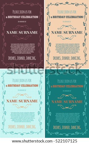 Set Of Birthday Invitations With Hand Drawn Flourish Elements Vector Illustration EPS 10