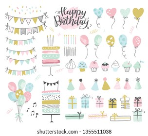 Set of birthday party design elements. Vector illustrations. Party decoration, balloons, gift box, cake with candles, confetti, party hats, cupcakes, bunting banners.