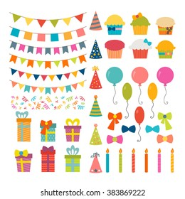 Set of birthday party design elements. Colorful balloons, flags, confetti, cupcakes, gifts, candles, bows and decorative ribbons. Vector illustration