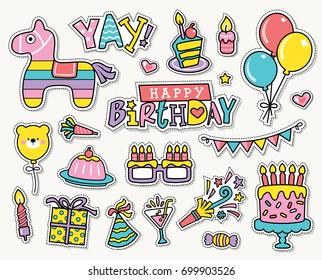 birthday sticker images stock photos vectors shutterstock https www shutterstock com image vector set birthday party design elements 699903526