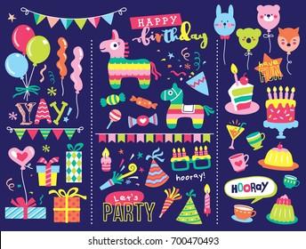 Set of birthday party design elements