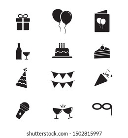 Set of birthday party icon related. Birthday party element vector illustration with silhouette design