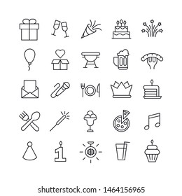 Set of Birthday related vector line icons. Premium linear symbols pack. Vector illustration isolated on a white background. Web symbols for web sites and mobile app. Trendy design.