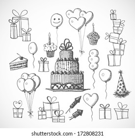Set of birthday sketch objects isolated on white. Cakes, balloons, birthday gifts. Vector illustration.