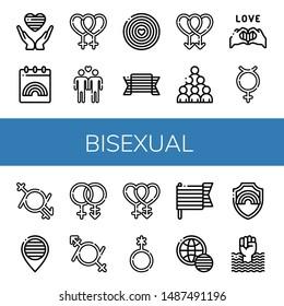 Set of bisexual icons such as Pride, World pride day, Lesbian, Gay, Hermaphrodite, Gender fluid, Bisexual, Genderqueer , bisexual