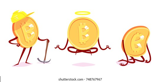 Set of bit-coin characters in the different situations. Vector cartoon illustration.