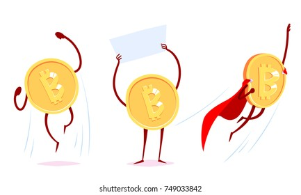 Set of bitcoin characters in the different situations. Vector cartoon illustration.