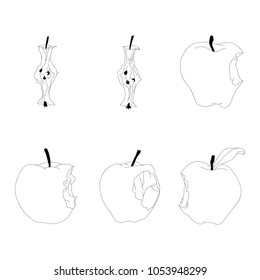 Set of bitten apples and apple stubs. Hand drawn vector lines