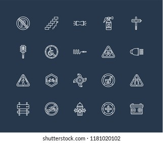Set Of black 20 linear icons such as Battery, High Beam, One way right arrow, Extinguisher, Rectangle and Ascending stairs, Pharmacy tool plus, Semaphore, editable stroke vector icon pack