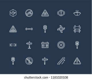 Set Of black 20 linear icons such as Forbidden smoking, Ascending stairs, Winshield Wiper, No entry, Semaphore, Semaphore light, Turn, editable stroke vector icon pack