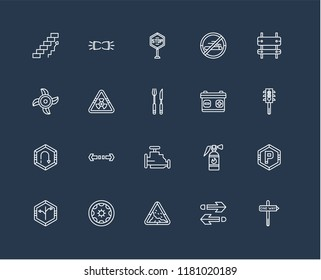 Set Of black 20 linear icons such as Semaphore, Landslide danger triangular traffic, Wheel vehicle part, Ventilating Fan, Restaurant, editable stroke vector icon pack
