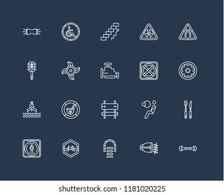 Set Of black 20 linear icons such as Turn, Wheel vehicle part, Road, Biohazard risk triangular, Stop, Handicapped, Airbag, Semaphore, editable stroke vector icon pack