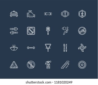 Set Of black 20 linear icons such as Forbidden smoking, Extinguisher, No entry, Two arrows pointing right and left, Semaphore, editable stroke vector icon pack