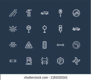 Set Of black 20 linear icons such as Ventilating Fan, Hood, Forbidden smoking, Semaphore, Parking Lights, Extinguisher, Turn, Light, editable stroke vector icon pack